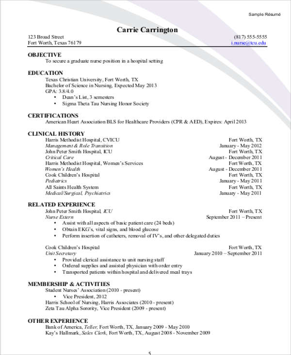 sample student nurse resume