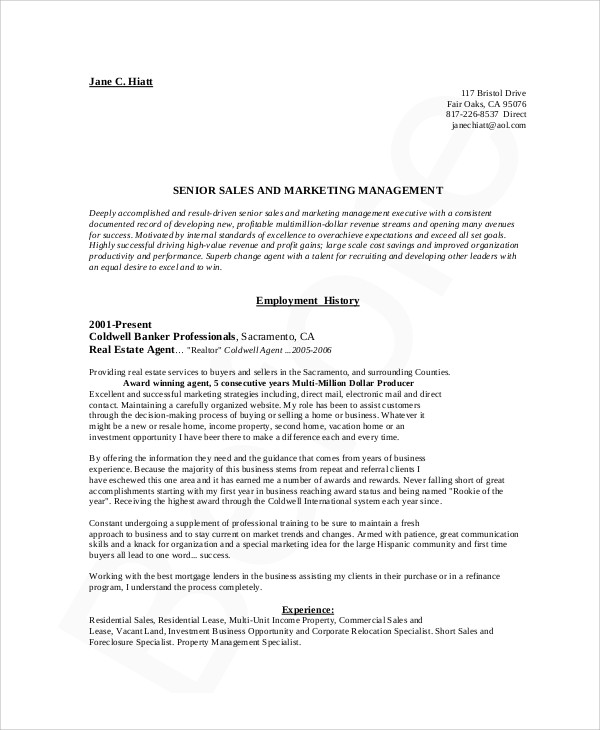 Marketing Resume Example   Samples In Word Pdf