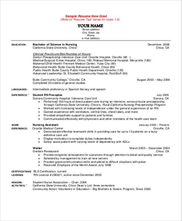 student nurse sample resume