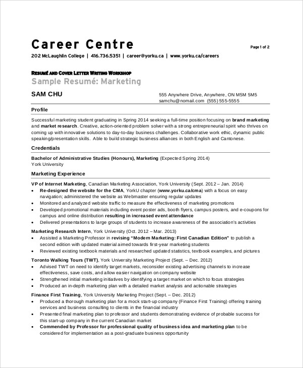 experienced marketing resume format