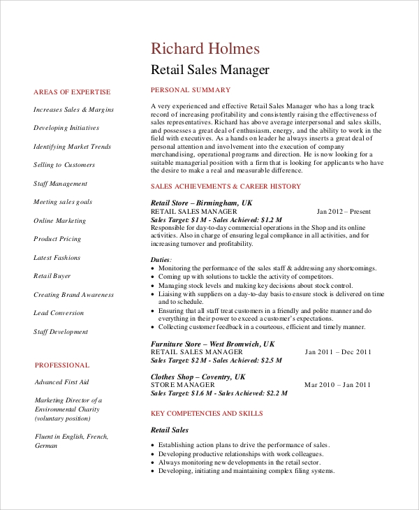 Sample Resume For Retail Sales Assistant Manager