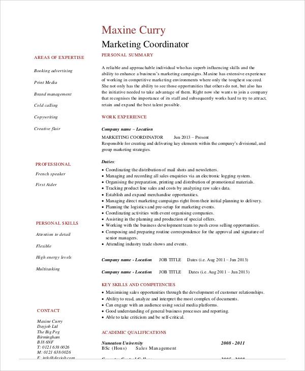 marketing coordinator resume1