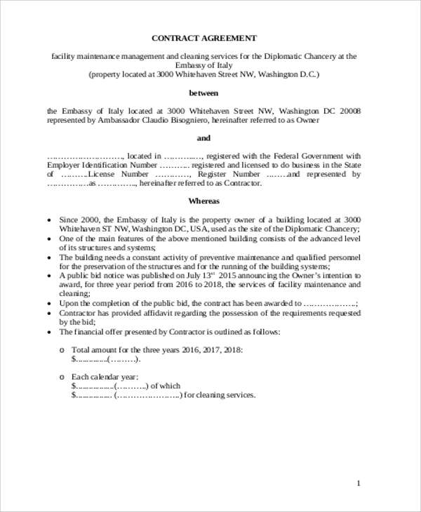 Sample Maintenance Contract Agreement  Examples In Word Pdf