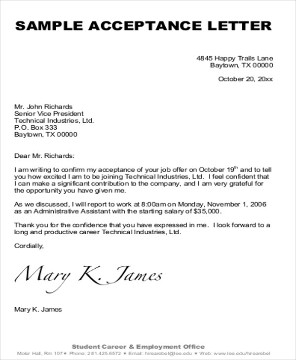 Sample Formal Acceptance Letters - 8+ Examples In Word, Pdf