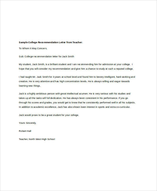 40 examples of recommendation letter sample templates for Recommendation letter for student from teacher template