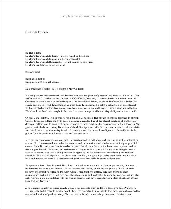 college recommendation letter template examples of recommendation letter 20901 | College Admission Recommendation Letter