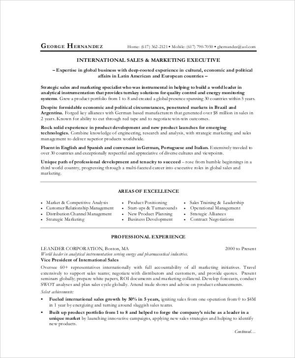 sales marketing exective resume