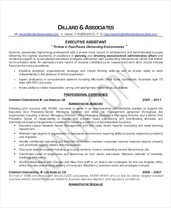 executive administrative assistant resume 6 sample executive administrative assistant resumes 21640 | Sample Executive Administrative Assistant Job Resume