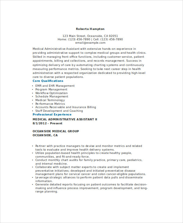 Sample Admin Assistant Resume - 9+ Examples in Word, PDF