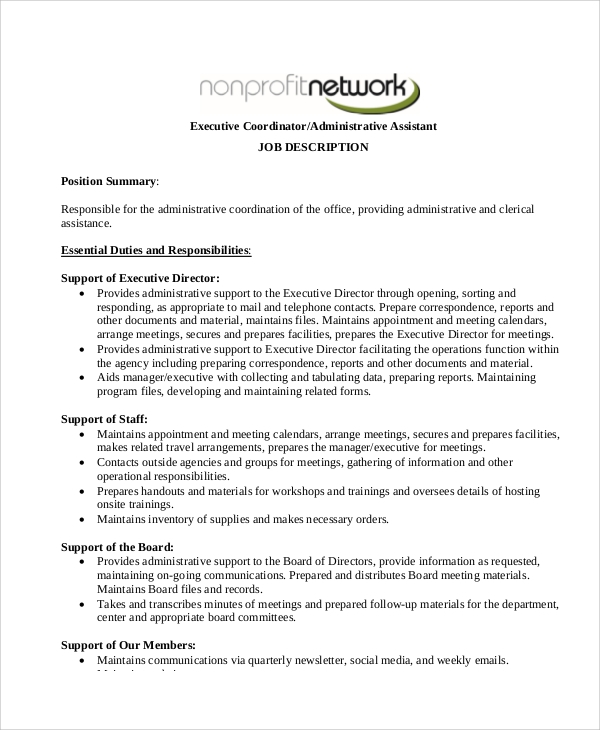 sample executive administrative assistant resume