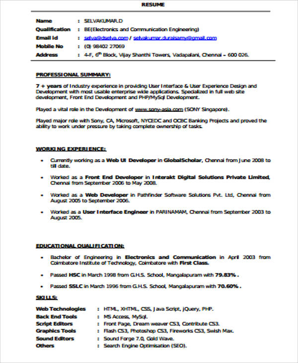 Sample FrontEnd Developer Resume   Examples In Word Pdf