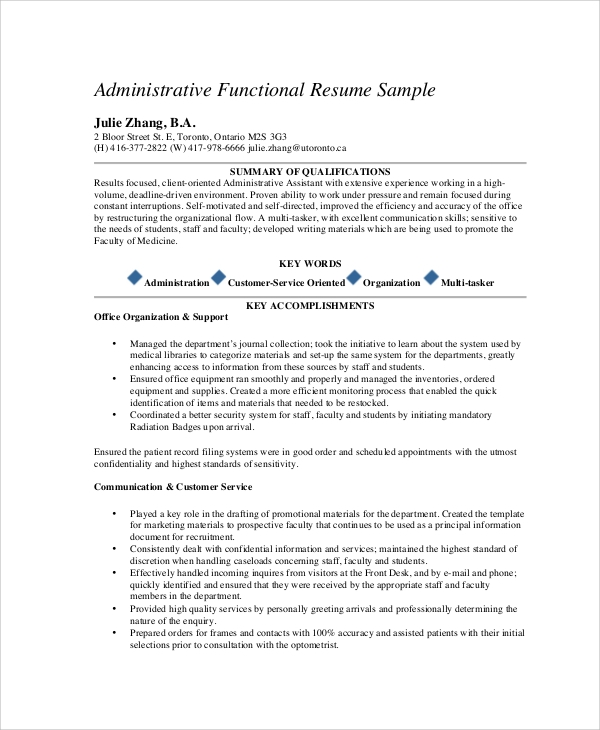 executive administrative assistant functional resume