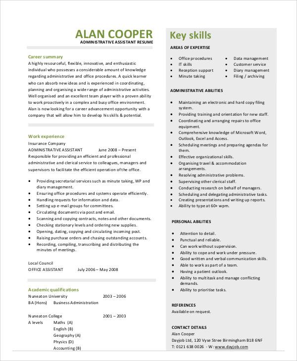 admin assistant skills resume