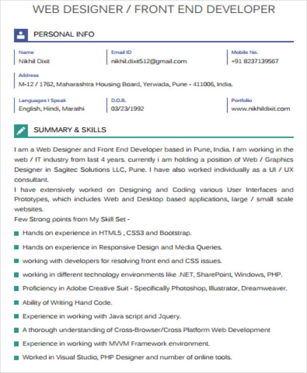 sample front-end developer resume
