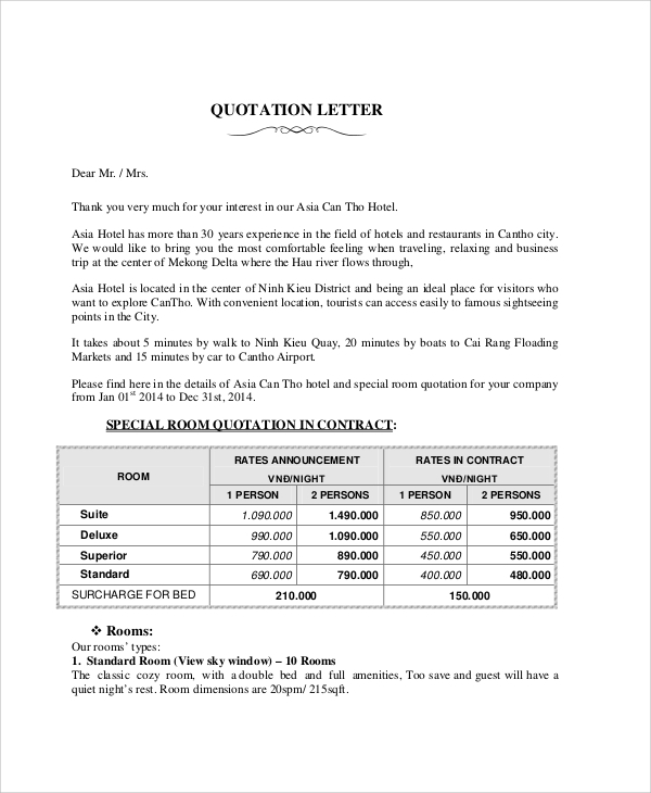 7 sample quotation letter free sample example format download sample hotel quotation letter altavistaventures Image collections