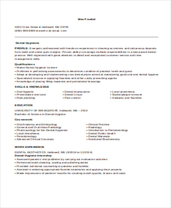 Sample Dental Hygienist Resume   Examples In Word Pdf