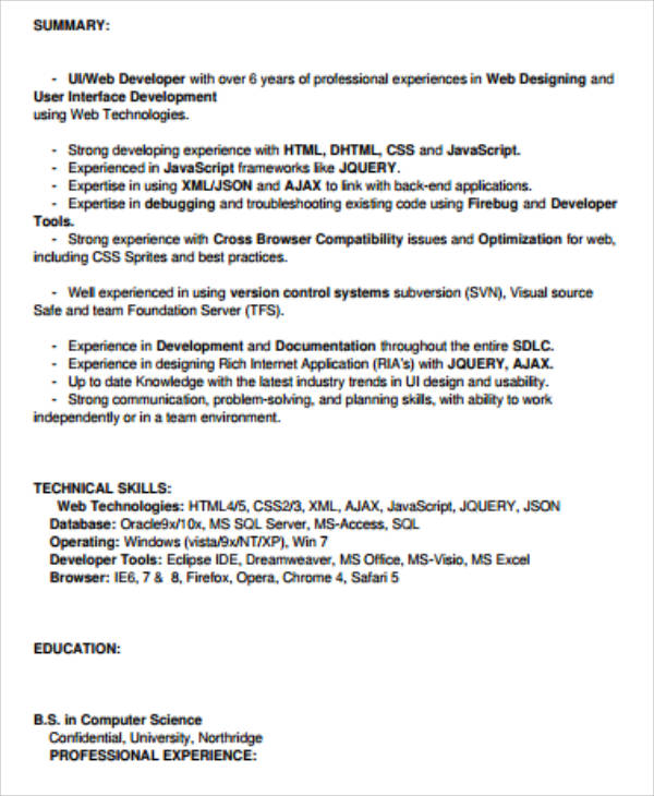 front end ui developer resume in pdf