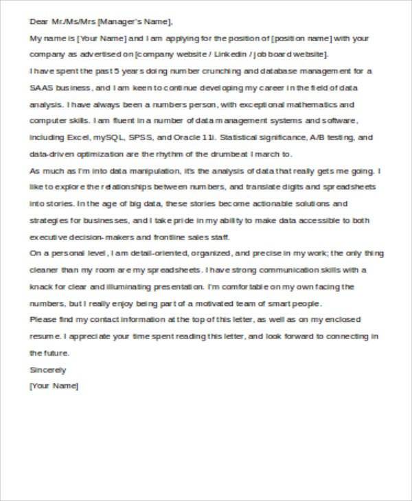 Professional Data Analyst Cover Letter  Data Analyst Cover Letter