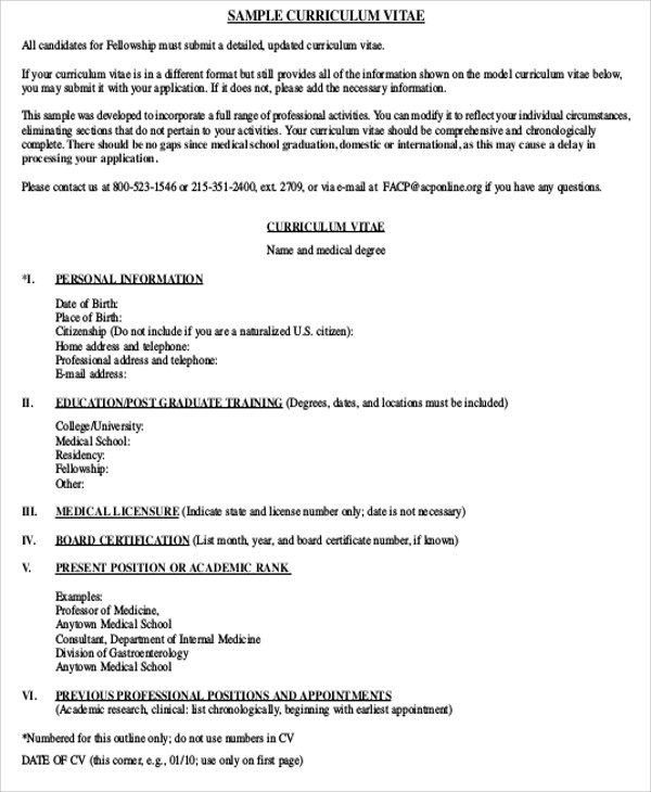 Medical Student Cv Sample   Examples In Word Pdf