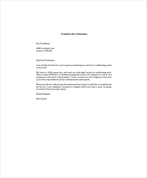 Quotation Letter Templates  CityEsporaCo