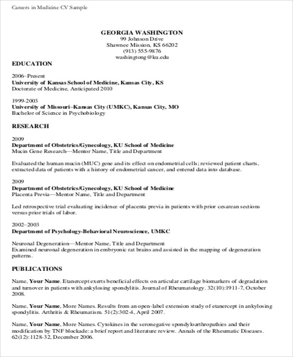 FREE 7+ Medical Student CV Samples In MS Word