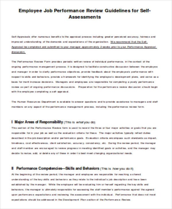 Job SelfAssessment Sample  Examples In Word Pdf