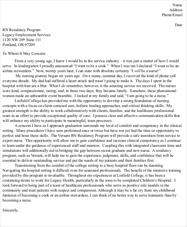 8 Nursing Cover Letter Example Free Sample Example Format – Nurse Cover Letter Example