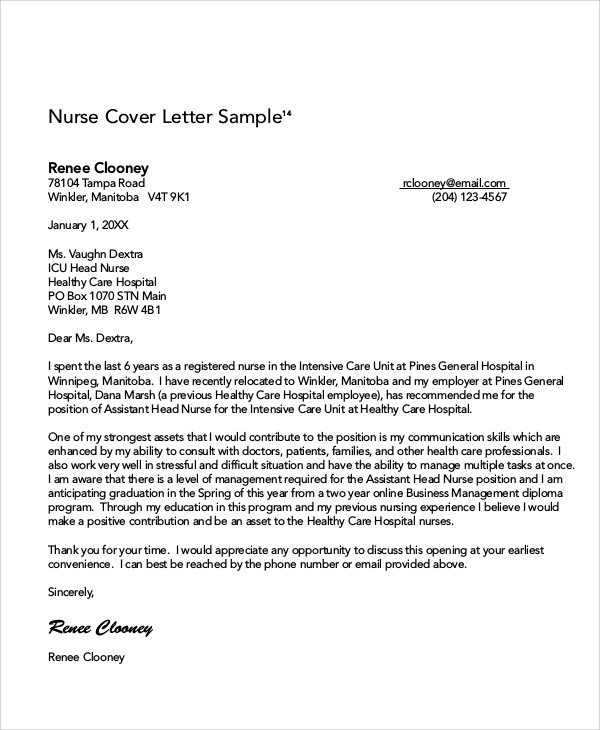 Nursing Cover Letter Example  Free Sample Example Format Download