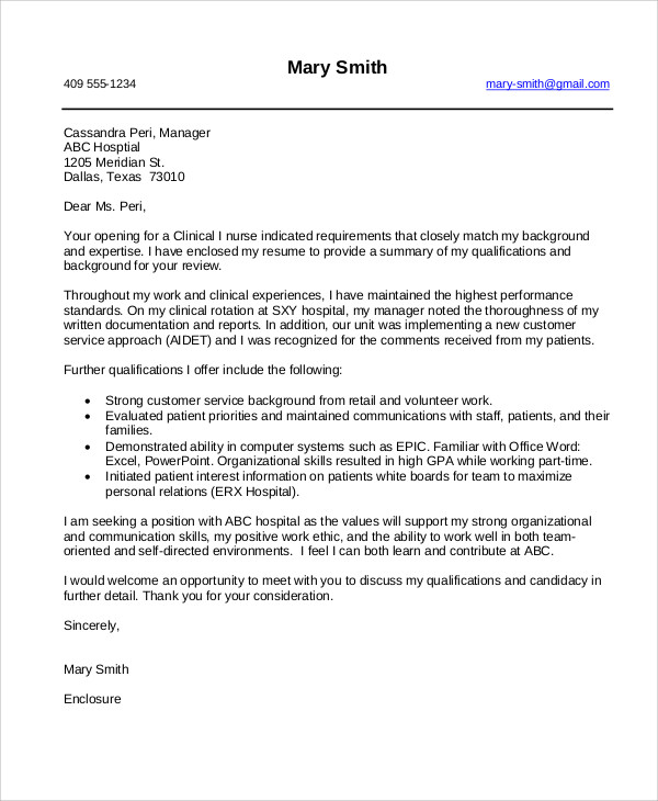 8+ Nursing Cover Letter Example