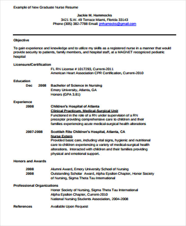 Sample Graduate Nurse Resume  Examples In Word Pdf