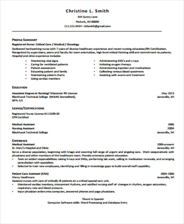 Sample Of Nursing Resume: 4+ Sample Graduate Nurse Resume