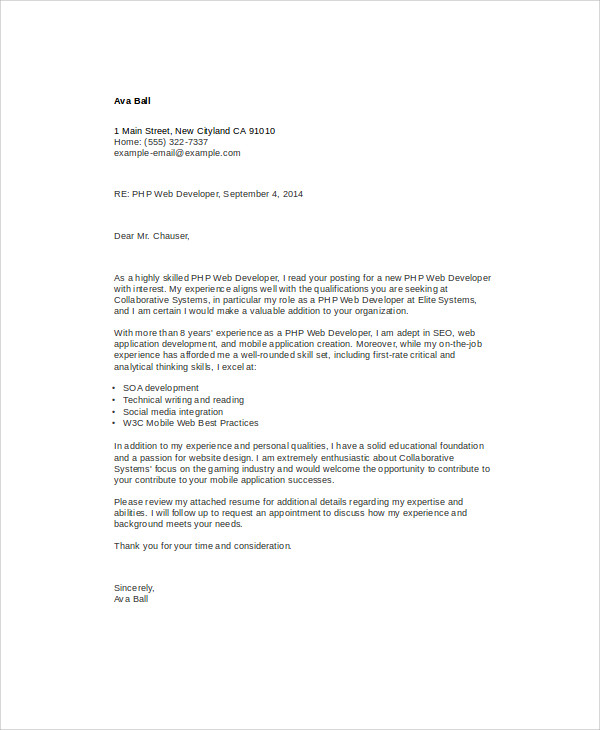 Web Application Developer Cover Letter