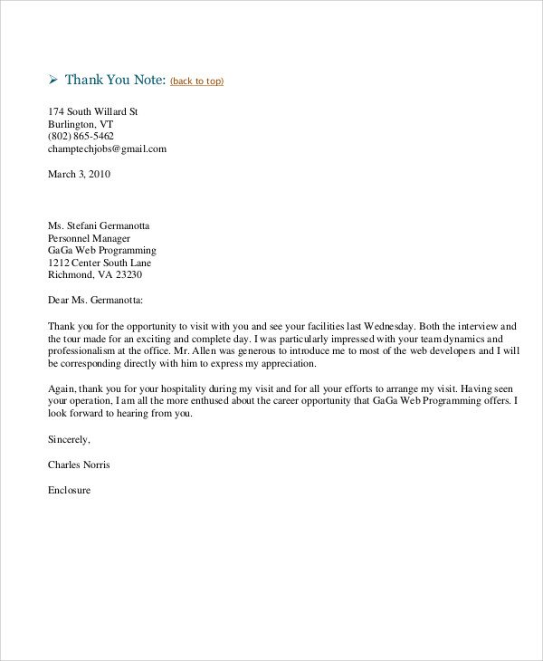 Web Developer Thank You Cover Letter Example