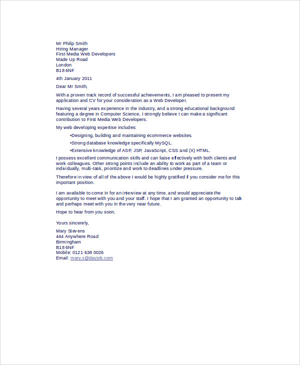web developer cover letter 8 examples in word pdf