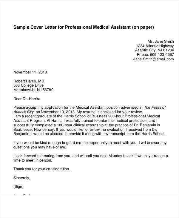 Cover Letter Medical Assistant   Examples In Word Pdf