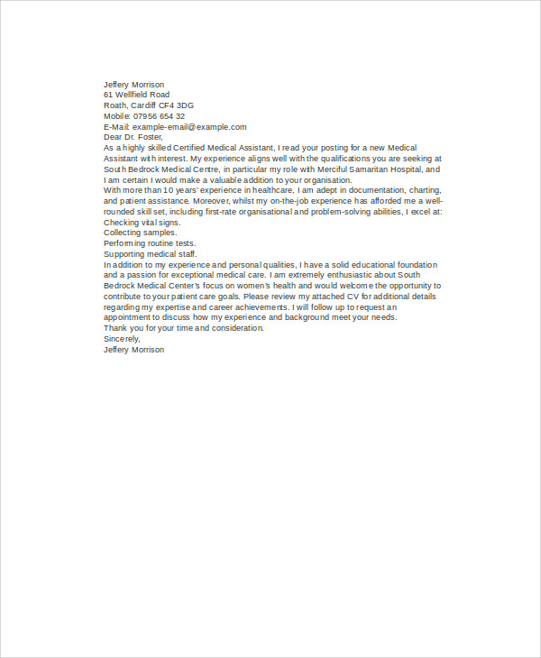 Free 6 Cover Letter Medical Assistant In Ms Word Pdf