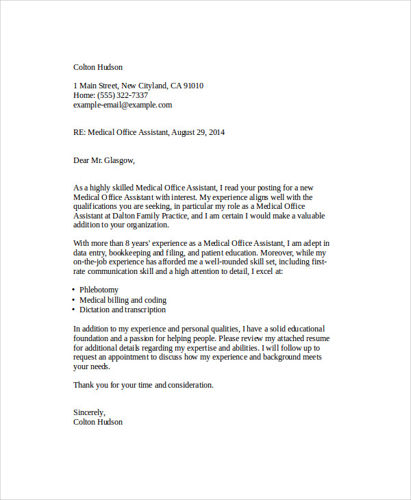 free 6  cover letter medical assistant in ms word