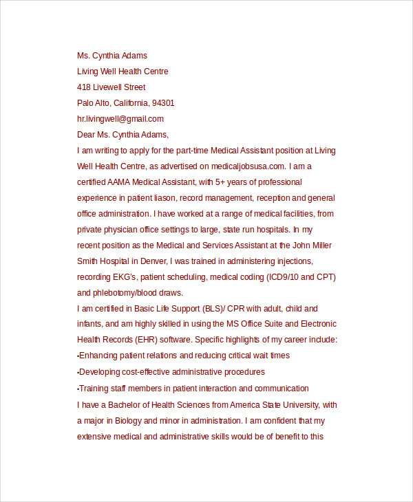 cover letter medical assistant examples