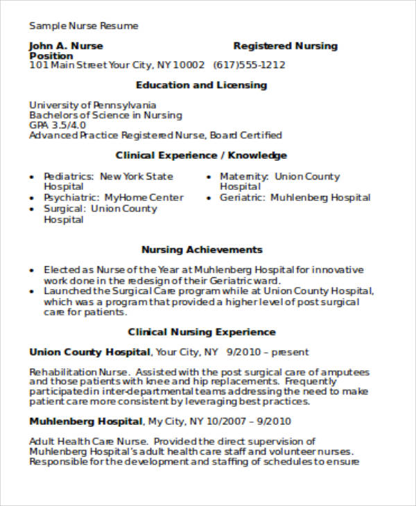 4+ Sample Graduate Nurse Resume - Examples In Word, Pdf
