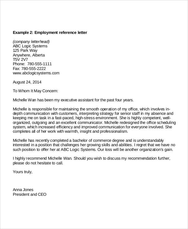 employment recommendation reference letter