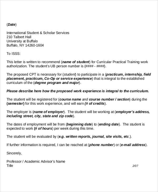 academic advisory recommendation letter