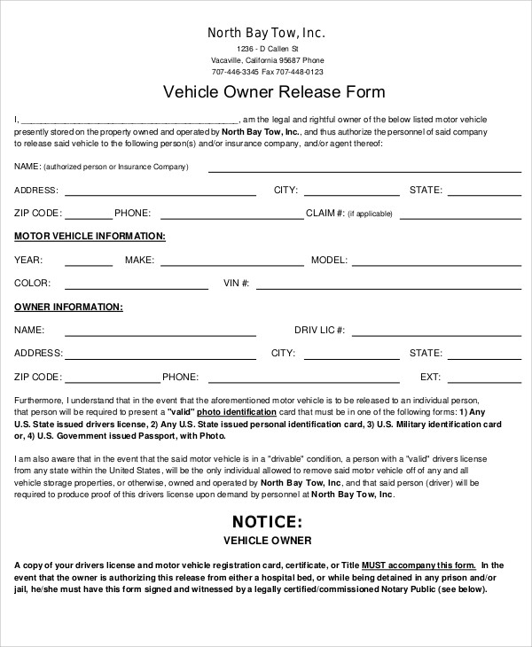 Sample Vehicle Release Form - 9+ Examples in Word, PDF on notary statement letter sample, notary to notarize letter, notary letter format, samples of notarized proof of income letters, notary examples of letters, notary document format, notary notarized letter,