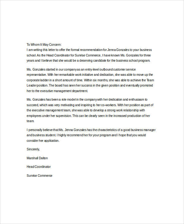 business school recommendation letter