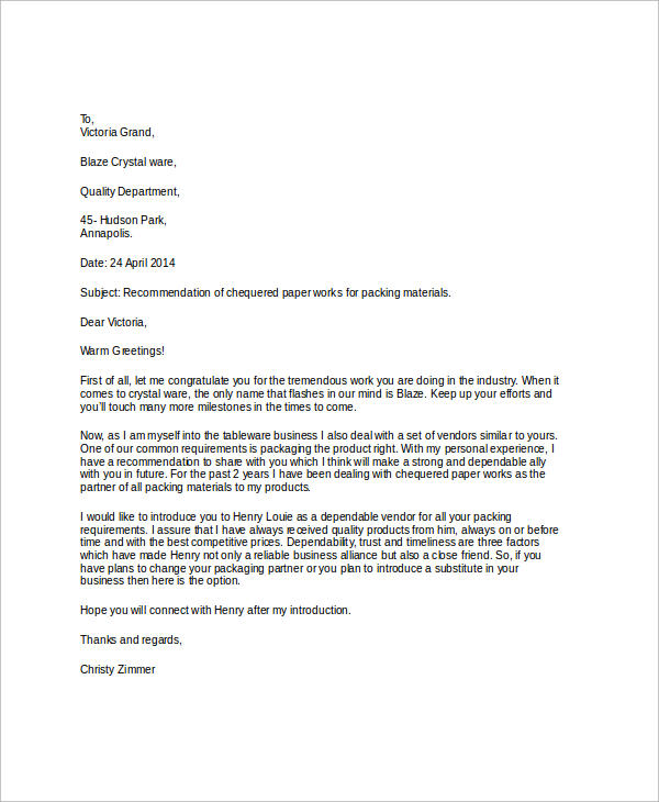 sample business recommendation letter
