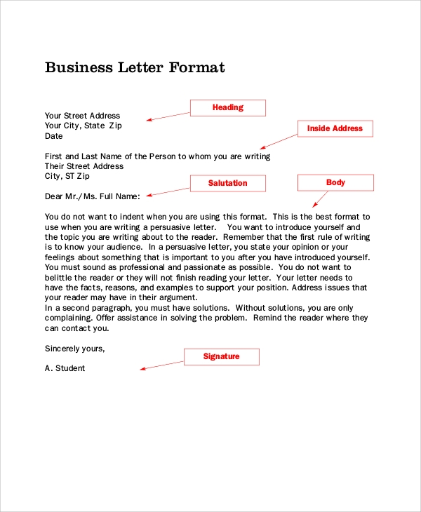 Awesome Formal Business Letter Layout Example