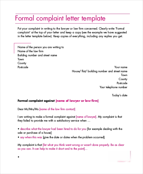 Sample Formal Letter Layout   Examples In Word Pdf