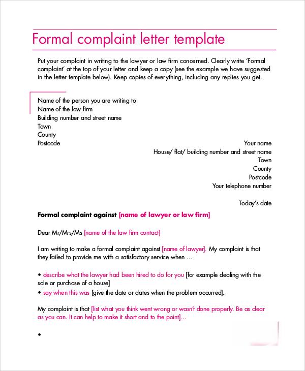 formal complaint letter layout sample