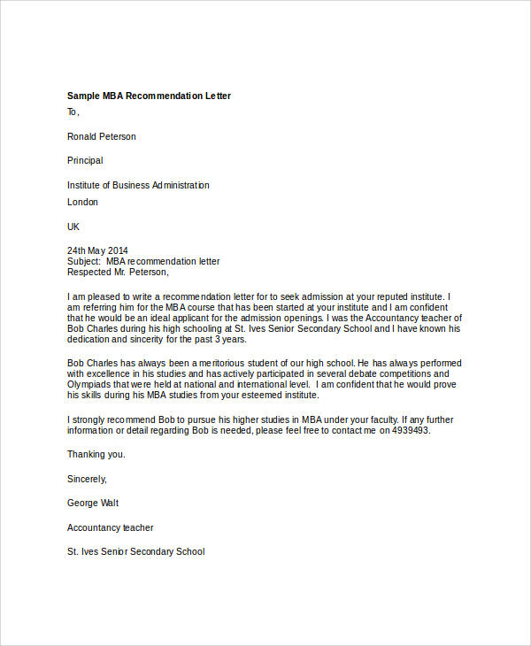 mba application letter of recommendation