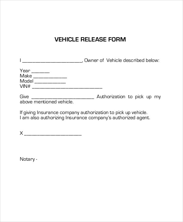 Sample Vehicle Release Form   Examples In Word Pdf