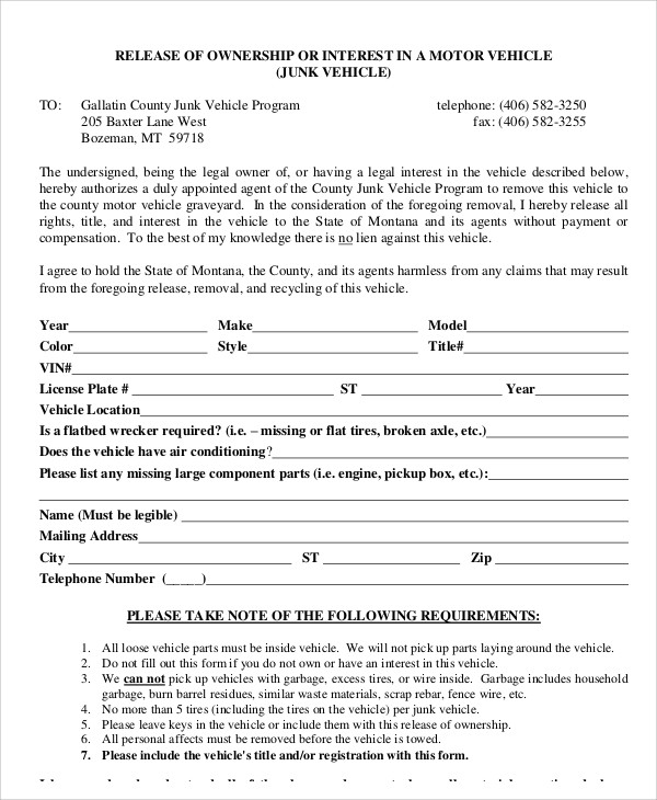vehicle ownership release form example